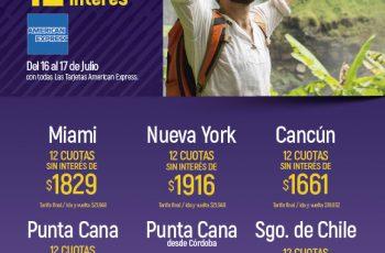 12 cuotas sin interés con American Express para volar en Aerolíneas